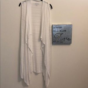 New York & Company White Sweater Duster Vest